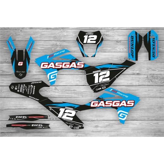 Kit Adhesivos GasGas EC 2021 Racing!!! Negro/Celeste